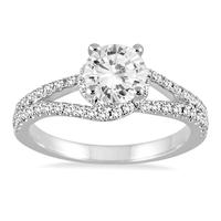 AGS Certified 1 Carat TW  Diamond Engagement Ring in 14K White Gold