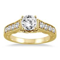 AGS Certified 1 1/2 Carat TW Antique Diamond Ring in 14K Yellow Gold (J-K Clarity, I2-I3 Clarity)