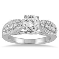 AGS Certified 1 1/2 Carat TW Diamond Engagement Ring in 14K White Gold (I-J Color, I2-I3 Clarity)