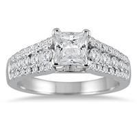 1 5/8 Carat TW Princess Cut Diamond Engagement Ring in 14K White Gold