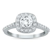 AGS Certified 1 Carat TW Diamond Halo Engagement Ring in 14K White Gold (J-K Color, I2-I3 Clarity)
