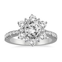 AGS Certified 1 3/4 Carat TW Diamond Engagement Ring in 14K White Gold (I-J Color, I2-I3 Clarity)