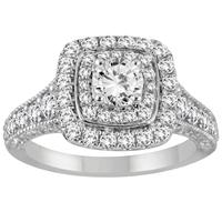 AGS Certified 1 1/4 Carat TW Diamond Double Halo Engagement Ring in 14K White Gold (I-J Color, I2-I3 Clarity)