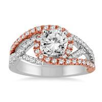 AGS Certified 1 3/8 Carat TW Diamond Engagement Ring in Two Tone 14K White Gold (J-K Color, I2-I3 Clarity)