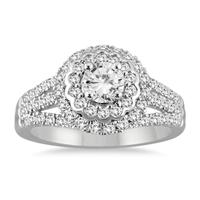 AGS Certified 1 1/2 Carat TW Diamond Engagement Ring in 14K White Gold (H-I Color, I1-I2 Clarity)