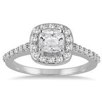 1 1/3 Carat Cushion Cut Diamond Engagement Ring in 14K White Gold