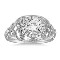 AGS Certified 1 1/5 Carat Diamond Engraved Engagement Ring in 14K White Gold (I-J Color, I2-I3 Clarity)