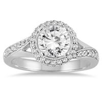 ASG Certified 1 1/2 Carat TW Diamond Engagement Ring in 14K White Gold (J-K Color, I2-I3 Clarity)