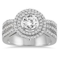 AGS Certified 1 1/8 Carat TW Diamond Engagement Ring in 14K White Gold (J-K Color, I2-I3 Clarity)