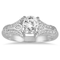 AGS Certified 1 1/10 Carat Diamond Engagement Ring in 14K White Gold (I-J Color, I2-I3 Clarity)
