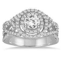 AGS Certified 1 5/8 Carat TW Diamond Engagement Ring in 14K White  Gold (I-J Color, I2-I3 Clarity)