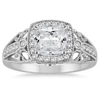 1 1/4 Carat Cushion Cut Diamond Filigree Engraved Engagement Ring in 14K White Gold