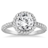 AGS Certified 1 1/8 Carat TW Halo Diamond Engagement Ring in 14K White Gold (I-J Color, I2-I3 Clarity)
