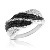 1/4 Carat Black and White Diamond Ring in .925 Sterling Silver