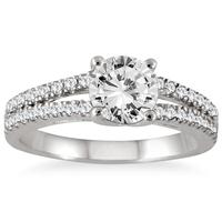 AGS Certified 1 1/3 Carat TW Diamond Split Shank Engagement Ring in 14K White Gold (J-K Color, I2-I3 Clarity)