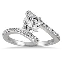 AGS Certified 1 Carat TW Diamond Engagement Ring in 14K White Gold (I-J Color, I2-I3 Clarity)