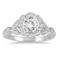 AGS Certified 1 1/3 Carat TW Antique Diamond Halo Engagement Ring in 14K White Gold (H-I Color, I1-I2 Clarity)