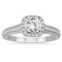 1 3/8 Carat TW Diamond Halo Engagement Ring in 14K White Gold