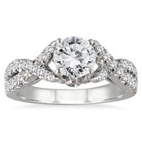 AGS Certified 1 1/2 Carat TW Twisted Split Shank Diamond Engagement Ring in 14K White Gold (I-J Color, I2-I3 Clarity)