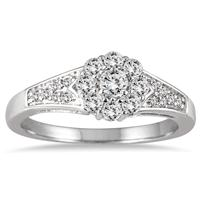 1/2 Carat TW Diamond Halo Engagement Ring in 10K White Gold