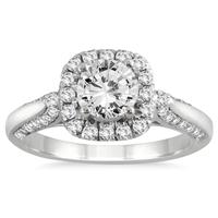 1 1/4 Carat TW Diamond Halo Engagement Ring in 14K White Gold