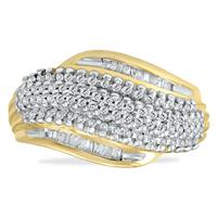 1/2 Carat Baguette Diamond Ring In Yellow Plated .92.925 Sterling Silver