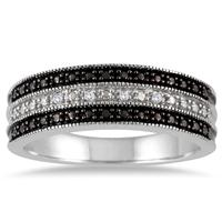 Deals on Black and White Diamond Band in .925 Sterling Silver