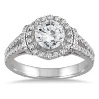 AGS Certified 1 1/2 Carat Diamond Split Shank Engagement Ring in 14K White Gold (H-I Color, I1-I2 Clarity)