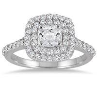 1 3/8 Carat Cushion Diamond Double Halo Engagement Ring in 14K White Gold