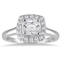 1 1/3 Carat Diamond Cushion Cut Engagement Ring in 14K White Gold