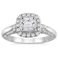 AGS Certified 1 1/4 Carat TW Cushion Cut Diamond Halo Engagement Ring in 14K White Gold