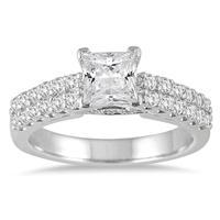 1 1/2 Carat TW Princess Diamond Engagement Ring in 14K White Gold