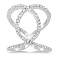 5/8 Carat TW Diamond Open Infinity Link Ring in 14K White Gold