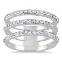 3/5 Carat TW Triple Row Diamond Ring in 14K White Gold