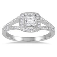 5/8 Carat TW Princess Cut Diamond Engagement Ring in 14K White Gold