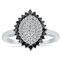 1/2 Carat TW Black and White Diamond Cluster Ring in .925 Sterling Silver