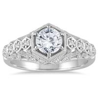 AGS Certified 1 1/6 Carat TW Antique Styled Diamond Engagement Ring in 14K White Gold (J-K Color, I2-I3 Clarity)