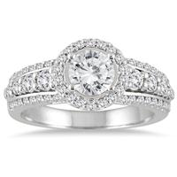 1 1/2 Carat TW White Diamond Halo Engagement Ring with Side Stones in 14K White Gold
