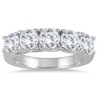 2 1/2 Carat TW Five Stone Diamond Wedding Band in 14K White Gold