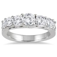 1 1/3 Carat TW Diamond 7 Stone Band in 14K White Gold