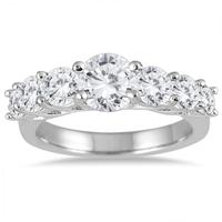 AGS Certified 2 1/2 Carat TW Diamond Bridal Engagement Ring in 14K White Gold (I-J Color, I2-I3 Clarity)