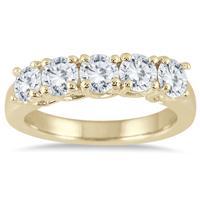 1 1/2 Carat TW Five Stone Diamond Wedding Band in 14K Yellow Gold
