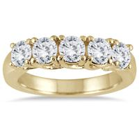 2 Carat TW Five Stone Diamond Wedding Band in 14K Yellow Gold