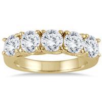 2 1/2 Carat TW Five Stone Diamond Wedding Band in 14K Yellow Gold