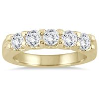 1 Carat TW Five Stone Diamond Wedding Band in 14K Yellow Gold