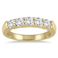 3/4 Carat TW Five Stone Diamond Wedding Band in 14K Yellow Gold