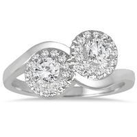 3/4 Carat TW Two Stone Halo Diamond Ring in 10K White Gold