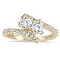 1 Carat TW Two Stone Diamond Ring in 10K Yellow Gold (K-L Color, I2-I3 Clarity)