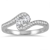 1/4 Carat TW Two Stone Ring in 10K White Gold
