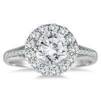 AGS Certified 1 Carat TW Diamond Halo Engagement Ring in 14K White Gold (H-I Color, I1-I2 Clarity)